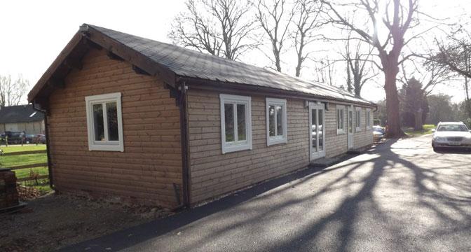 Log cabin office building UK