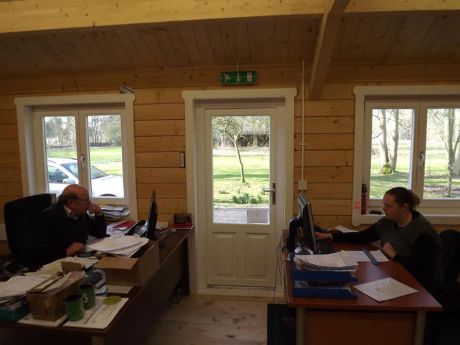 View of Log cabin office inside, looking out