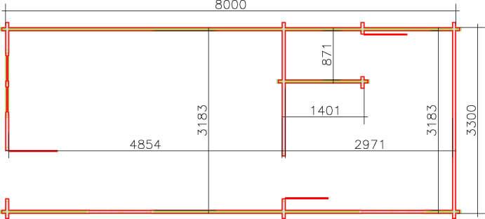 1 bedroom annexe - plan view - 8m x 3.3 metres