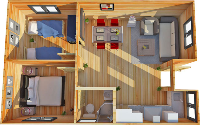 Cabin Bedroom Fitted Furniture: A 2 Bedroom Log Cabin Annex
