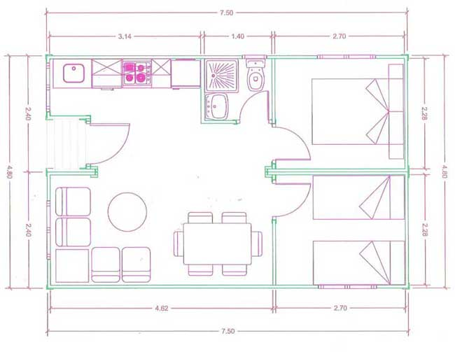 Plan view of 2 bed log cabin annexe
