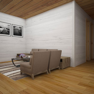 The lounge area with white painted wood wall